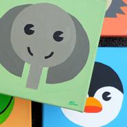Tierwelt<br />Serie von 10 Motiven<br /> Acryl auf Leinwand<br /> 20 x 20 x 5 cm