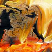 """Kaminfeuer""<br />Öl auf Leinwand<br />100 x 80 cm"